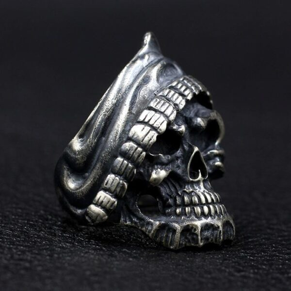 Black Sterling Silver Grim Reaper Biker Skull Ring