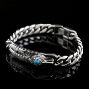 Feather Cuban Chain Bracelet With Turquoise