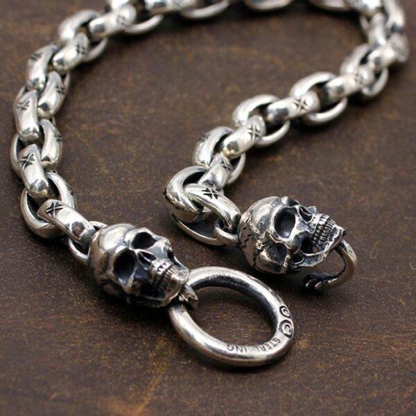 Maltese Cross Skull Chain Bracelet