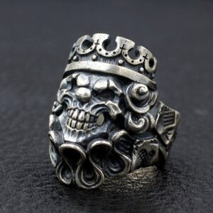 Mens Sterling Silver Joker Ring With Crown