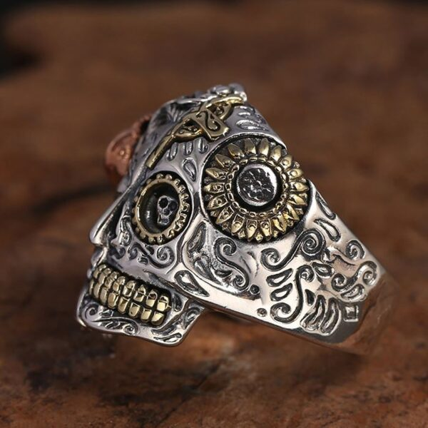 Sterling Silver Two Face Devil Skull Ring