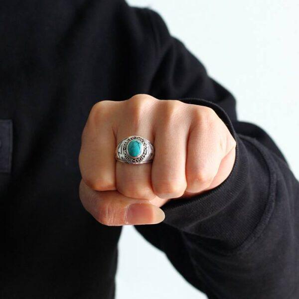 Mens Turquoise Harley Motor Biker Ring