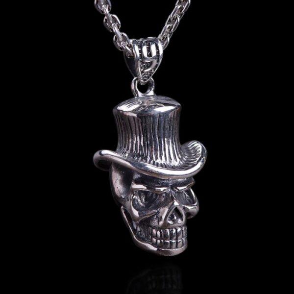 Sterling Silver Cowboy Skull Pendant Necklace