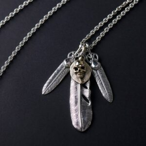 Sterling Silver Feather & Gold Skull Necklace