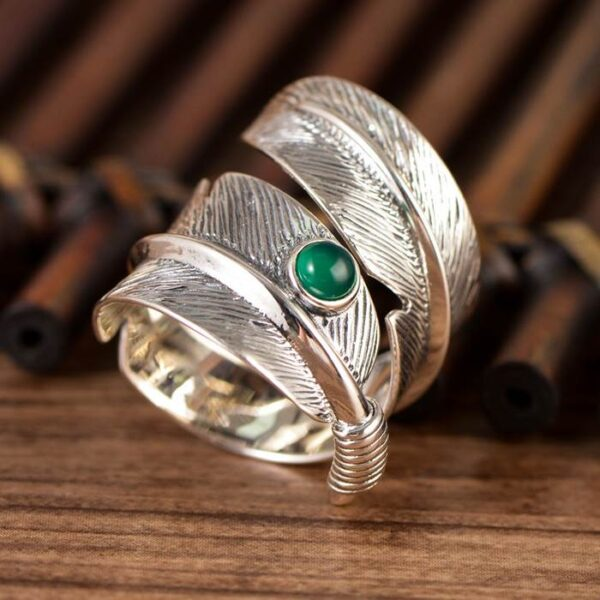 Sterling Silver Green Agate Feather Ring