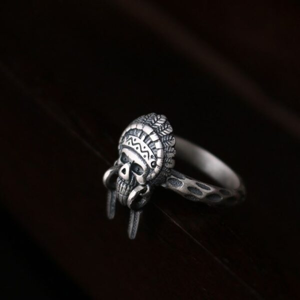 Sterling Silver Indian Chief Skull Ring