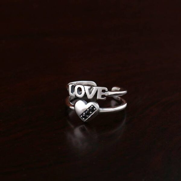 Elegant Sterling Silver Love Heart Ring