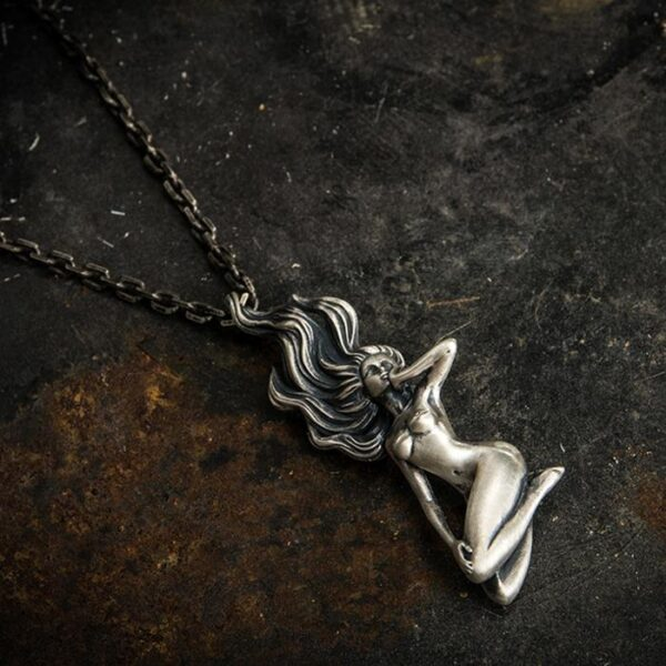 999 Fine Silver Naked Female Pendant Necklace