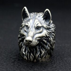 Big & Heavy Sterling Silver King Of Wolf Ring