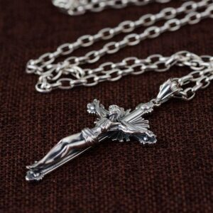 Cross & Crucifix Pendant W/ Oval Links Chain