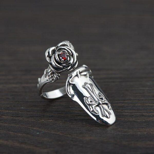 Cross Rose Opening Nail Cocktail Ring