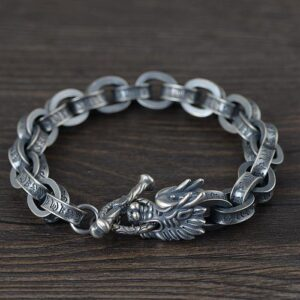Dragon Head Oval Chain Links Bracelet