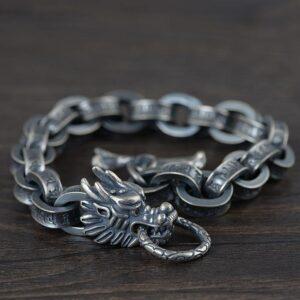 Dragon Head Oval Chain Links Bracelet