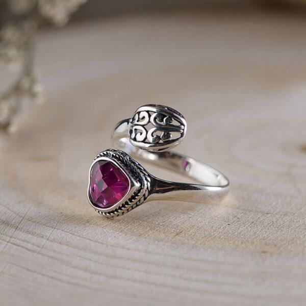 Heart Synthetic Ruby Spoon Ring - vvvjewelry