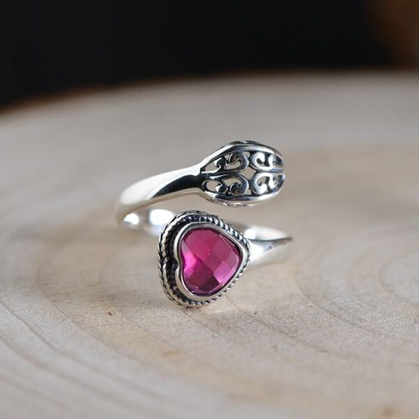 Heart Synthetic Ruby Spoon Ring