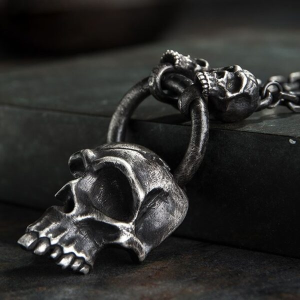 Heavy Gothic Half Skull With 2 Skulls & Oval Chain Links Necklace