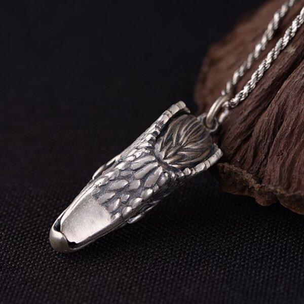 Mens Fine Silver Eagle Head Pendant Necklace