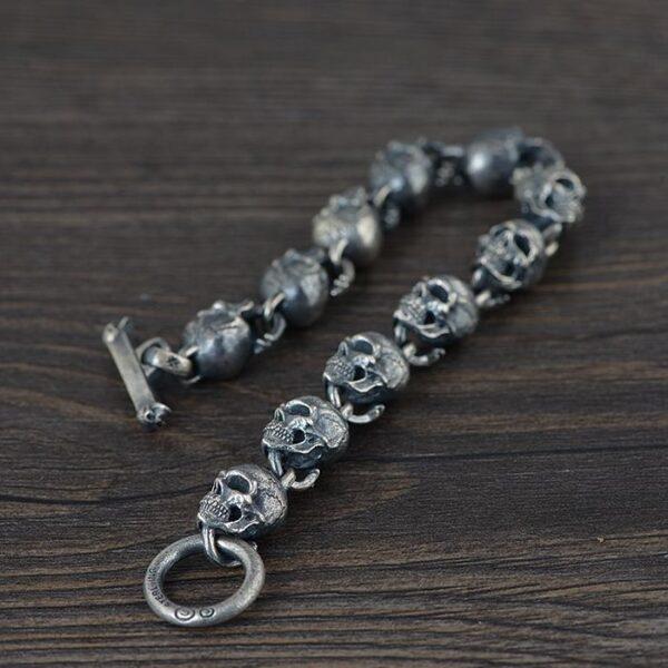 Mens Sterling Silver Skull Links Bracelet
