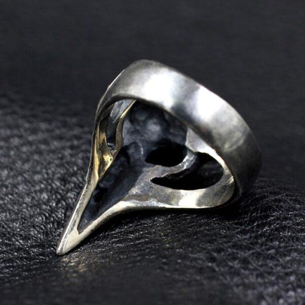 Mens Sterling Sliver Raven Skull Ring