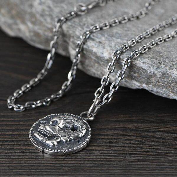 Silver Skull Disc Pendant Necklace