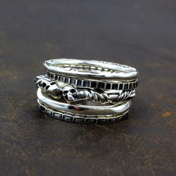 Skull Set of 5 Stacking Rings