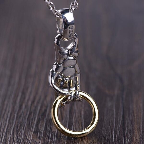 Sliver Skeleton Hand Pendant Necklace