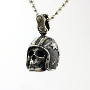 Sterling Silver Biker Skull Pendant Necklace