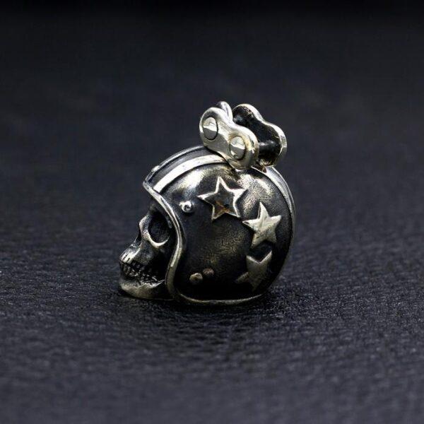 Sterling Silver Biker Skull Pendant Necklace