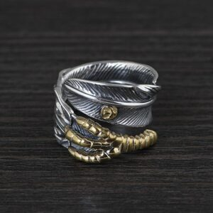 Sterling Silver Claw Feather Cuff Ring