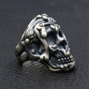 Sterling Silver Naked Female Embossed Skull Ring