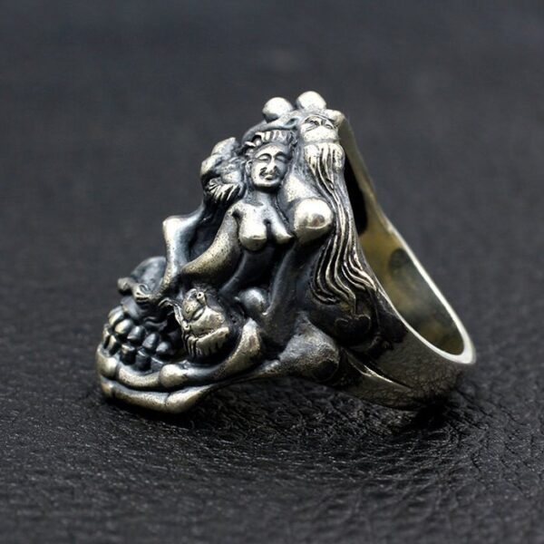 Sterling Silver Naked Female Embossed Skull Ring