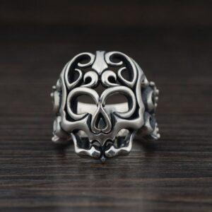 Sterling Silver Openwork Skull Ring