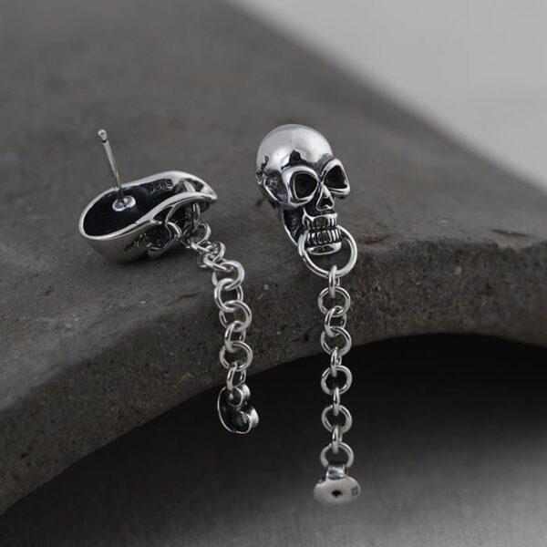 Sterling Silver Skull Stud Chain Earrings
