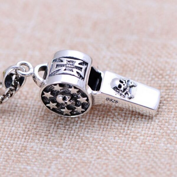 Sterling Silver Skull Whistle Pendant Necklace