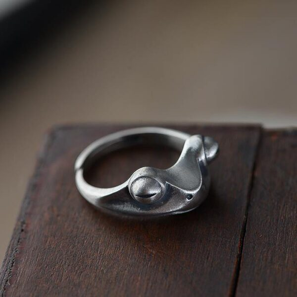Womens Sterling Silver Frog Ring