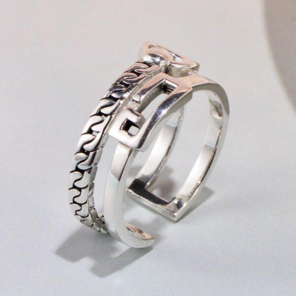 Womens Sterling Silver Zipper Ring
