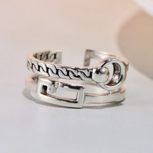 Womens Sterling Silver Zipper Ring