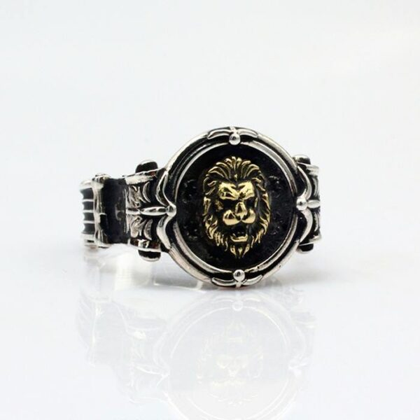 Handmade Sterling Silver Lion Head Signet Ring