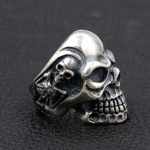 Heavy Skull Sterling Silver Death Biker Ring