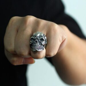 Heavy Skull Sterling Silver Death Biker Ring