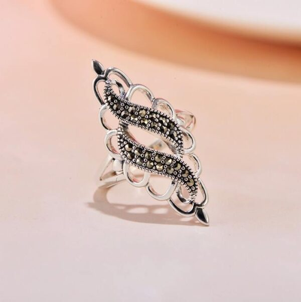 MARCASITE Pave Cluster Cocktail Ring