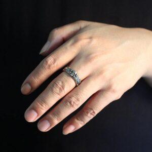 Men's Sterling Silver Skull Band Ring