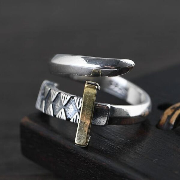 Mens Sterling Silver Sword Wrap Ring