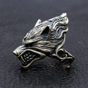 Sterling Sliver Evil Wolf Head Ring
