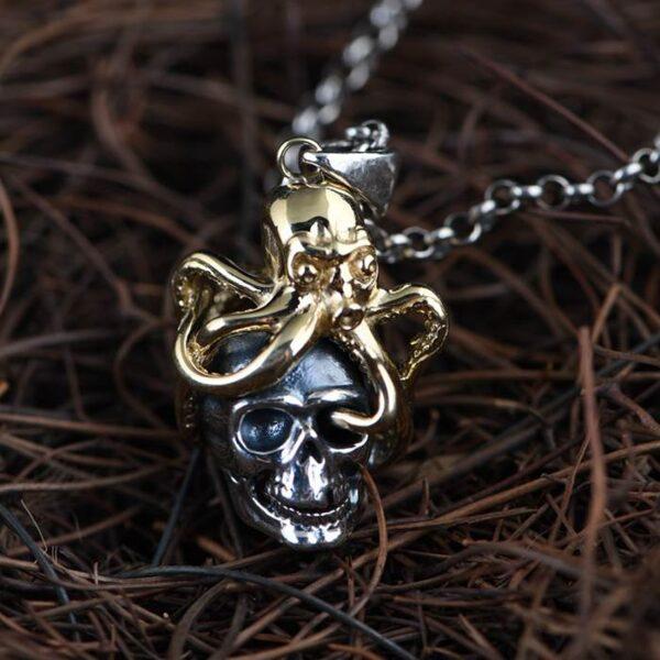 Octopus Skull Pendant Necklace