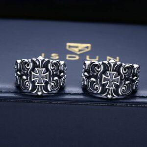 Silver Cross Vine Ring