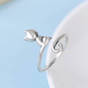 Sliver Adjustable Cat Ring