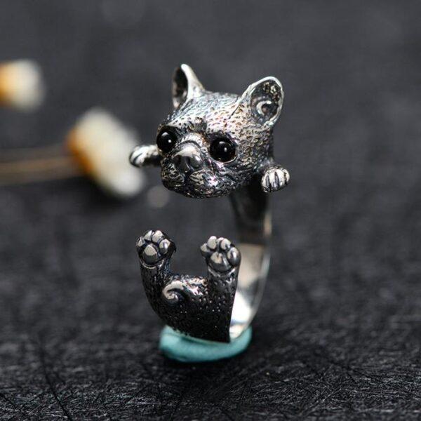 Sterling Silver Bulldog Baby Ring