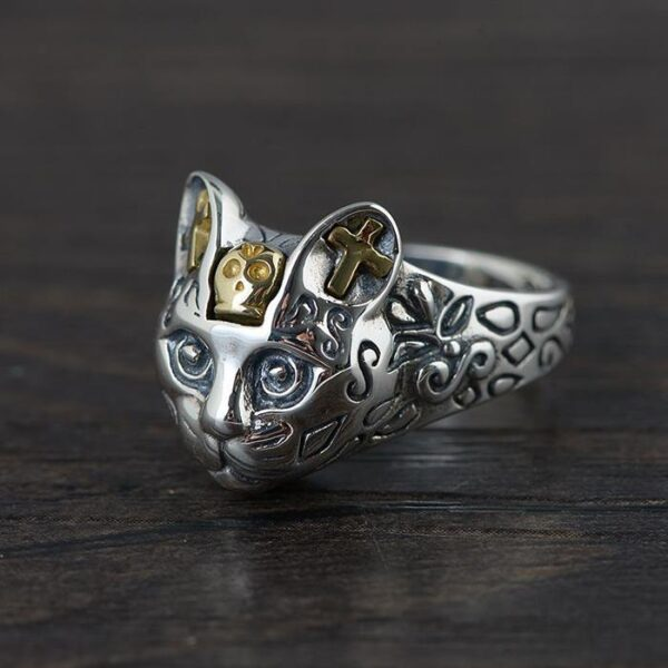 Sterling Silver Cat Head Ring