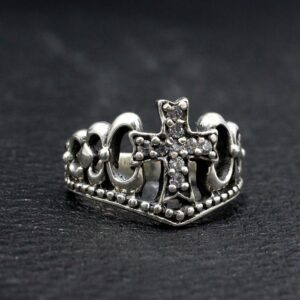 Sterling Silver Crown Cross Ring